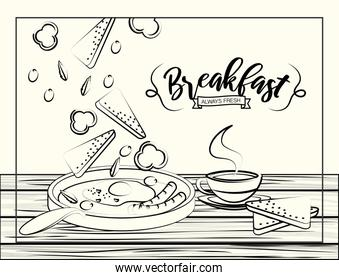 set breakfast nutrition with protein portion