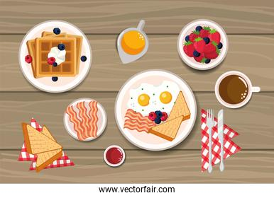 waffles with fried eggs and sliced bread