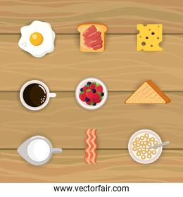 set delicious breakfast with cereal and sliced bread