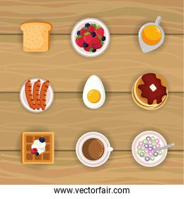 set delicious breakfast food with protein nutrition