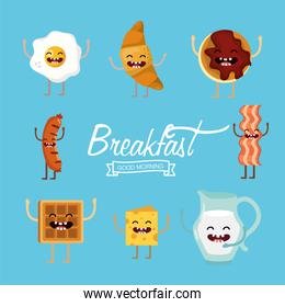 set delicious breakfast food protein with arms and legs