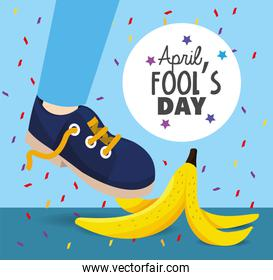 funny banana with sneaker to fools day