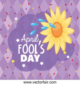funny flower with water to fools day