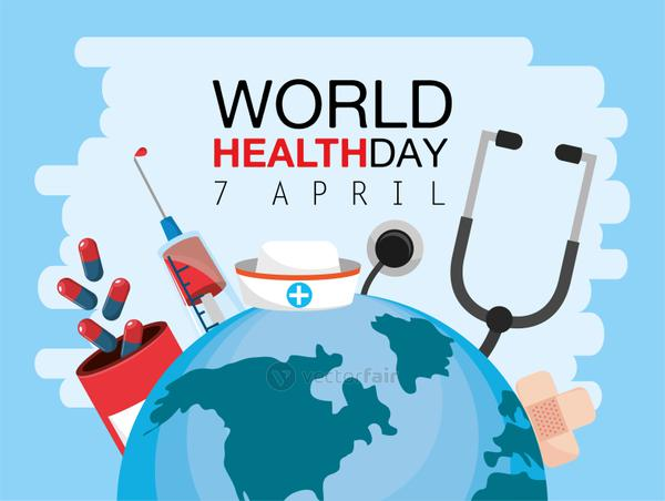 world health day with stethoscope and medicine