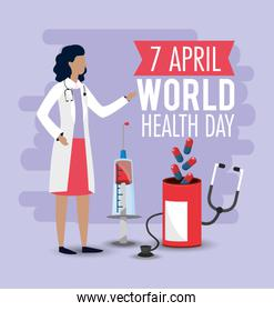 world health day with woman doctor and pills