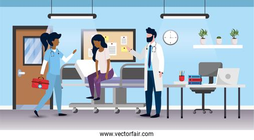 professional woman and man doctors with sick patient