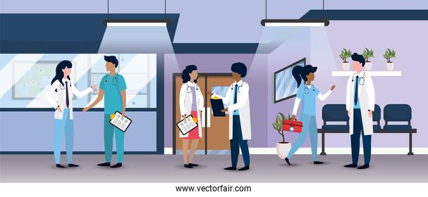 medical hospital with professional doctors and patients