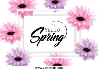 spring card with exotic flowers and petals