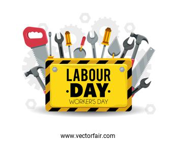 emblem with construction tools to celebrate labour day