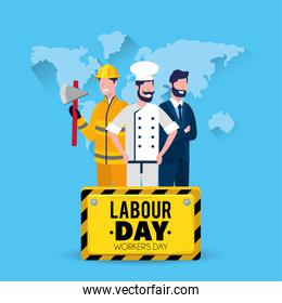firefighter with baker and businessman with labour day emblem