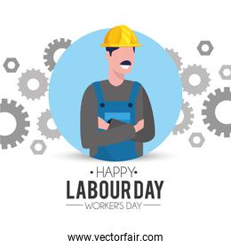 professional man mechanic with gears to labour day