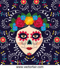 woman skull decoration with flowers to mexican event