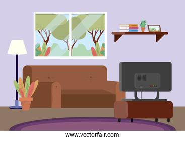 diving room with sofa and tv decoration