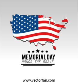 usa map and flag to memorial day