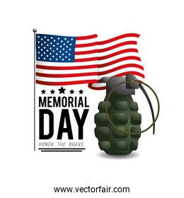 usa flag with grenade to memorial day