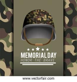 poster with military helmet and camouflage uniforme