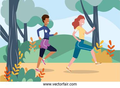 women practice running exercise activity