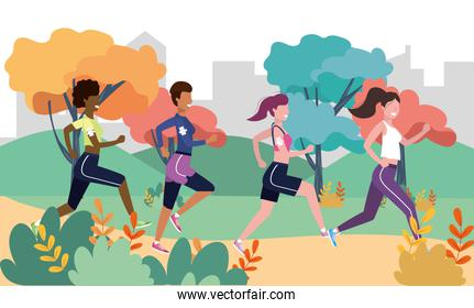 women practice running fitness activity