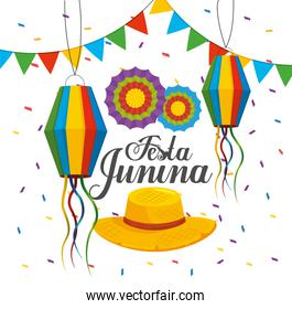 lanterns with banner and flowers to festa junina