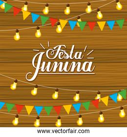 festa junina celebration with lights and party banner