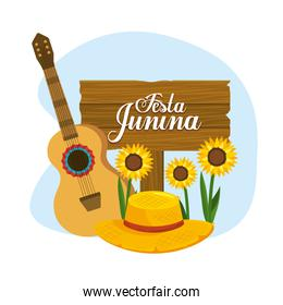 wooden emblem with guitar and hat to festa junina