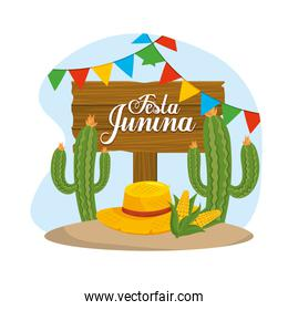 wooden emblem with cactus plant and hat to festival