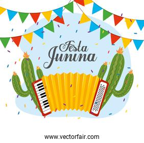 cactus plants with accordion and party banner