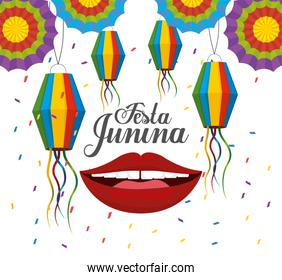 lanterns with flowers and mouth to festa junina