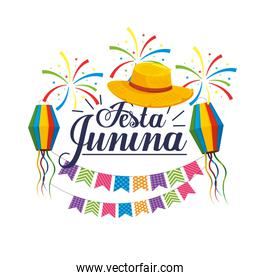 party banner with hat and lanterns to festa junina