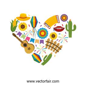 heart with festa junina decoration to party