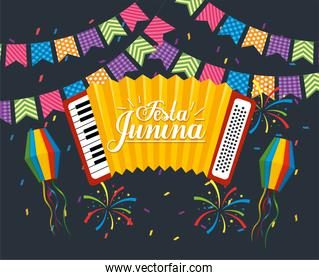 party banner with accordion to festa junina