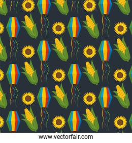 lanters with corncobs and sunflowers decoration background