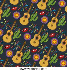 guitar with cactus plants and flowers background