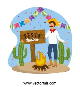 man wearing hat with firewood and party banner