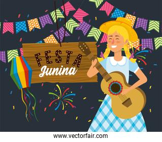 woman with guitar and wood emblem with fireworks