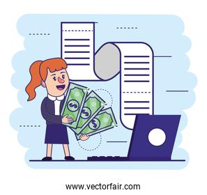 woman with bills and electronic laptop with invoice
