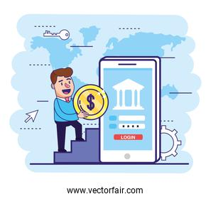 man with coin and smartphone with bank password