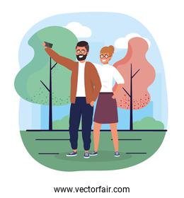 man and woman couple with smartphone technology