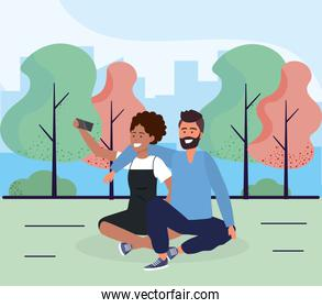 woman and man couple seating with smartphone