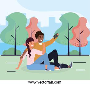 woman and man together seating with smartphone