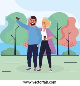 woman and man couple with smartphone together
