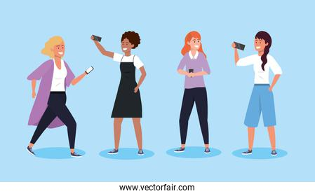 set women with smartphone technology and hairstyle