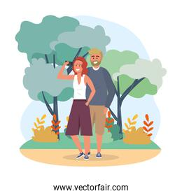 woman and man couple with smartphone communication