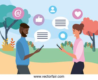 man and woman couple with chat bubble communication