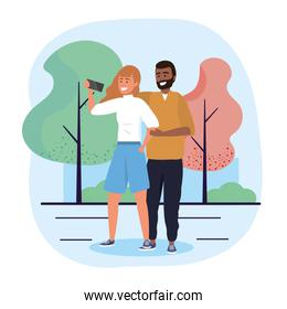 man and woman couple with selfie technology