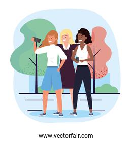 women friends together with smartphone selfie