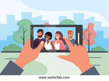 smartphone selfie with funny people friends