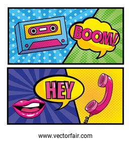 set cassette and mouth with phone and pop art messages
