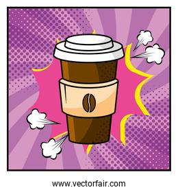 plastic coffee cup and pop art style