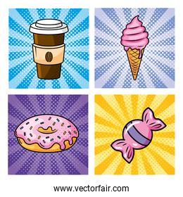 set of plastic coffee with ice cream and donut with sweet candy